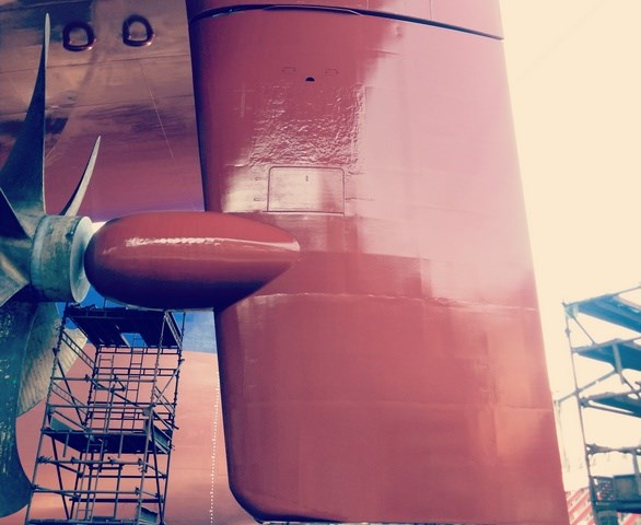Rudder repair 300 metre container vessel