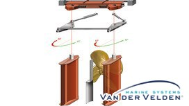 The 2DWK is an exceptionally sturdy, asymmetrical steering gear especially developed for Van der Velden® Hydro Dynamic rudders and the Van der Velden® XR rudder systems.
